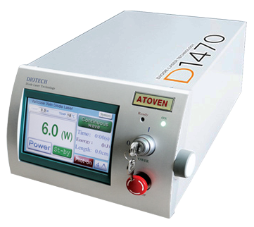 Máy điều trị suy tĩnh mạch chi dưới bằng Laser nội tĩnh mạch ATOVEN 1470nm Diode Laser